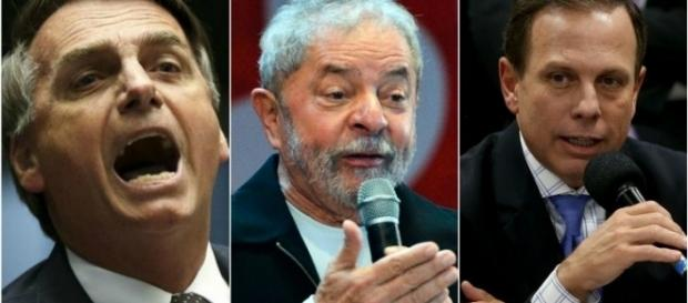 Bolsonaro, Lula e Doria apresentados respectivamente
