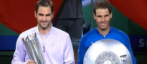 Federer and Nadal at the ceremony in Shanghai/ Photo: screenshot via Tennis TV channel on YouTube