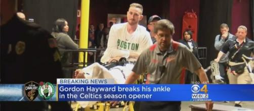Gordon Hayward is taken to the hospital after breaking his ankle during NBA opening night. (Image Credit - CBS Boston/YouTube )