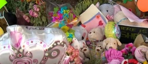 Items left at tribute site for missing toddler Sherin Mathews'. (Image from WFAA/YouTube)