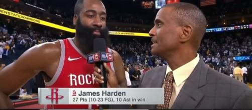 James Harden interview after their game (Image Credit: Yoni Hoops/YouTube)