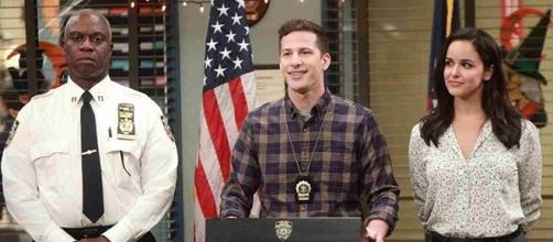 """TV's cutest couple are now engaged! Jake proposed to Amy in this week's """"Brooklyn Nine-Nine."""" (Image Credit: SpoilerTV/FOX)"""