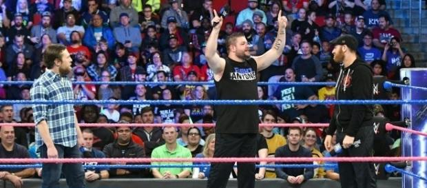 Kevin Owens and Sami Zayn trash talked GM Daniel Bryan in the opening segment for Tuesday's 'SmackDown Live' show. [Image via WWE/YouTube]