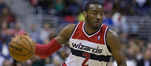 John Wall led the Wizards to a close win over 76ers Image credit-- Keith Allison via WikiCommons