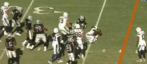 LA Chargers vs. Oakland Raiders. [Image Credit: NFL/YouTube]