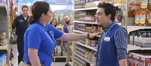 "Lauren Ash and Ben Feldman star as Dina and Jonah in NBC's ""Superstore."" (SpoilerTV/NBC)"