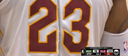 LeBron James' torn jersey during NBA opening night. (Image Credit - MLG Highlights/Youtube Screenshot)