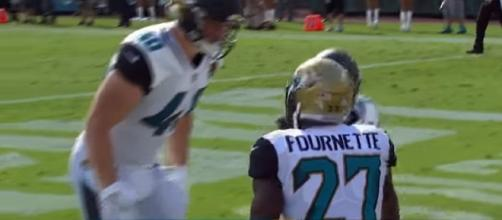 Leonard Fournette after a TD against the LA Rams. [Image Credit: NFL/YouTube]