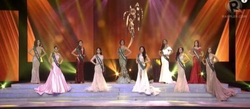 Pageant contestants in evening gown. [Image Credit: Rappler/YouTube]