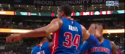 Tobias Harris and the Pistons picked up a 12-point win over Charlotte on Wednesday night. [Image via NBA/YouTube]