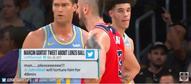 Lonzo Ball and Marcin Gortat in their game on Wednesday. [Photo Credit: Real GD's Latest Highlights/Youtube]