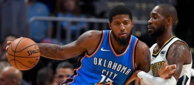 Paul George makes his NBA regular season debut on Thursday as the Thunder host the Knicks. [Image via NBA/YouTube]