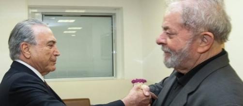 Encontro entre Temer e Lula, em fevereiro de 2017, durante visita do peemedebista à Marisa Letícia no hospital Sírio-Libanês.