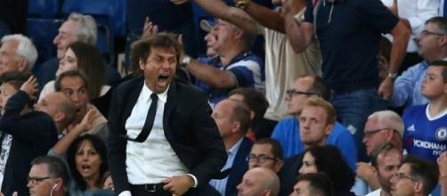 L'esultanza di Antonio Conte. L'allenatore del Chelsea piace al Milan