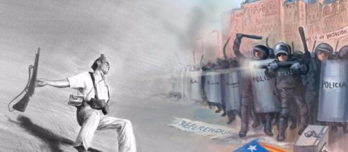 The Guardian describe la represión policial de ayer homenajeando al miliciano muerto de Robert Cappa.