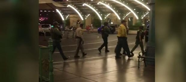 A gunman opened fire from the Mandalay Hotel & Casino in Las Vegas, killing at least 20 people [Image: YouTube/BBC News]