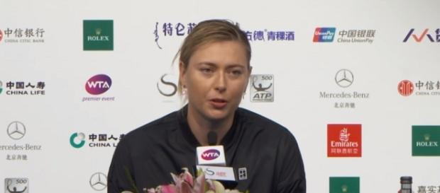 Maria Sharapova during a press conference at the 2017 China Open, Beijing/ Photo: screenshot via WTA official channel on YouTube