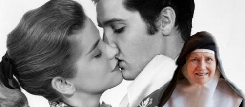 Dolores Hart em dois momentos, contracenando com Elvis Presley e atualmente como freira