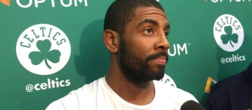Kyrie Irving talks to the media about hecklers' Instagram post. (Image Credit - MassLive/YouTube)