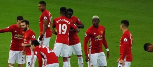 Manchester United players celebrate Marcos Rashford's goal in the 2-0 victory over Leicester City. (Image Credit: Ian Johnson/Flickr)