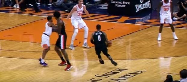 Damian Lillard leads Blazers past Suns on October 20. -- YouTube screen capture / Portland Trail Blazers
