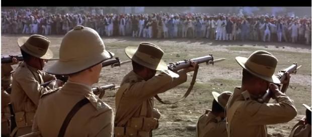 """Still from movie """"Gandhi"""" filmed on the massacre. [Image: AAAN KH/Youtube]"""
