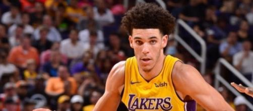 Rookie Lonzo Ball led the L.A. Lakers past the Phoenix Suns in second NBA game of his career. [Image Credit: NBA/YouTube]