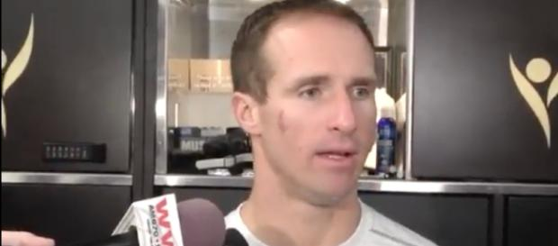 Saints' quarterback Drew Brees takes aim at a short-handed defensive backfield? [Image Credit: #1 Pelicans/Saints Fan/YouTube]