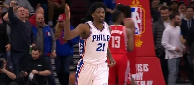 Joel Embiid is out for the 76ers versus the Raptors; (Image Credit: NBA/YouTube)