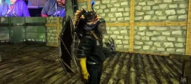 The hazard suit in 'ARK: Survival Evolved's' 'Aberration' DLC (Image via ThickFreedom/YouTube)