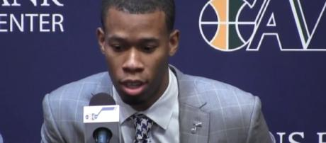 Rodney Hood was lucky enough to learn that his leg injury wasn't serious – [Image credit: Salt Lake Tribune media/YouTube]