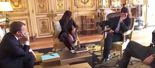 A dog belonging to French President Emmanuel Macron was caught peeing in an ornate fireplace. [Image credit: Guardian Wires/YouTube]