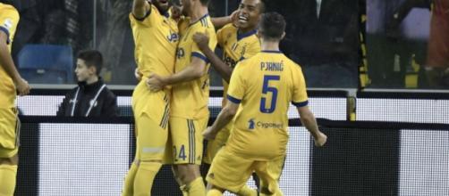 I giocatori della Juventus in festa dopo il goal (fonte Sky Sport)