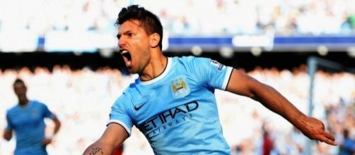 Manchester City striker Sergio Aguero celebrates his goal in the past. (Image Credit: Thomas Richards/Flickr)