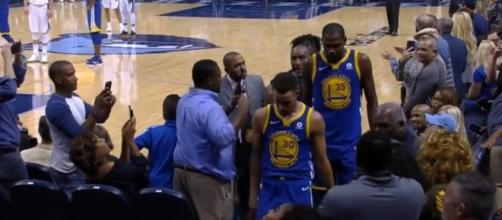 Stephen Curry and Kevin Durant's ejection (via NBA Conference/Youtube)