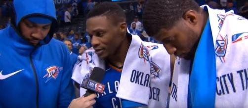 The newly formed big three of the Oklahoma City Thunder. [Image Credit: OKC Thunder Fans - Blue & White Army/YouTube]