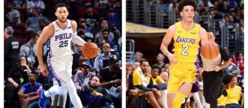 The Sixers' Ben Simmons and Lakers' Lonzo Ball are early frontrunners for NBA Rookie of the Year. [Image via NBA/YouTube]