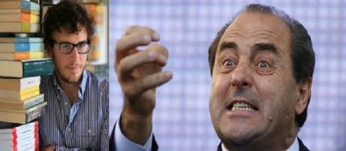 A sx Diego Fusaro, a dx l'ex ministro Antonio Di Pietro