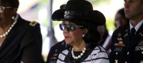 Rep Frederica Wilson at La David Johnson funeral / [Image credit: CBS Evening News/YouTube]