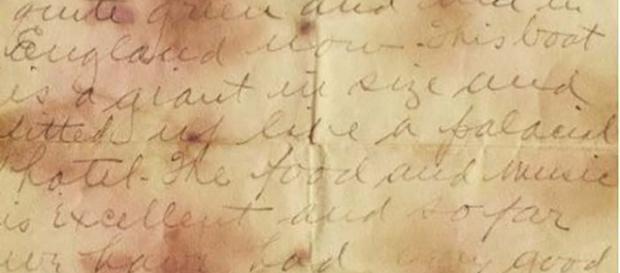 La lettera di Holverson alla madre scritta sul Titanic