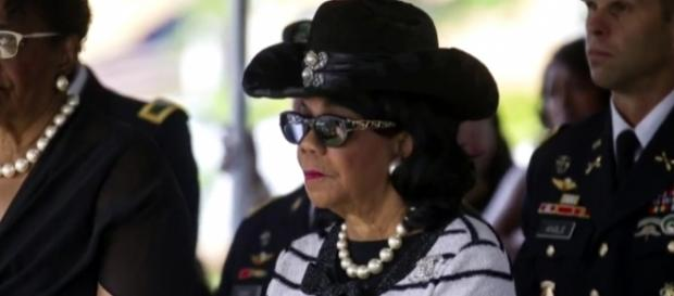 Rep Frederica Wilson at La David Johnson funeral / [Image credit: CBS Evening News/YouTube]