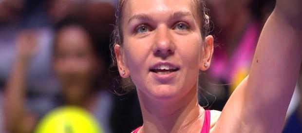 Simona Halep celebrating her win over Ca. Garcia in Singapore. (Image Credit: WTA/ YouTube)