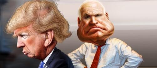 McCain vs Trump / [Image credit: @JonMarkDraws, DonkeyHotey/Flickr]
