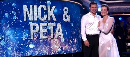 "Nick Lachey and Peta Murgatoryd eliminated from ""Dancing with the Stars"" on Monday. (Image Credit: DWTS/YouTube)"