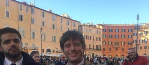 Pippo Civati durante il presidio contro il Rosatellum (Foto esclusiva: Caterina Lupo)