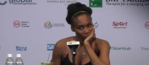 Venus Williams during a press conference after her win over Ostapenko in Singapore/ Photo: screenshot via WTA channel on YouTube