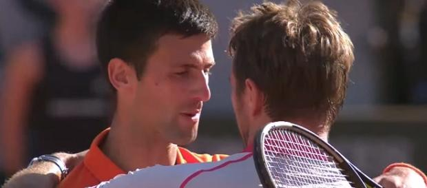 Djokovic and Wawrinka at the end of the 2015 French Open final/ Photo: screenshot via Roland Garros channel on YouTube