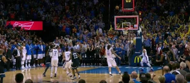 The buzzer-beater shot of Andrew Wiggins. Imgae credit: NBA/YouTube