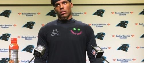 Cam Netwon rolls his eyes after getting asked a question about the Carolina Panthers offense. -- YouTube screen capture / ESPN