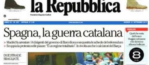 Cómo informó el diario italiano La Repubblica sobre incidentes en Cataluña con detenciones.